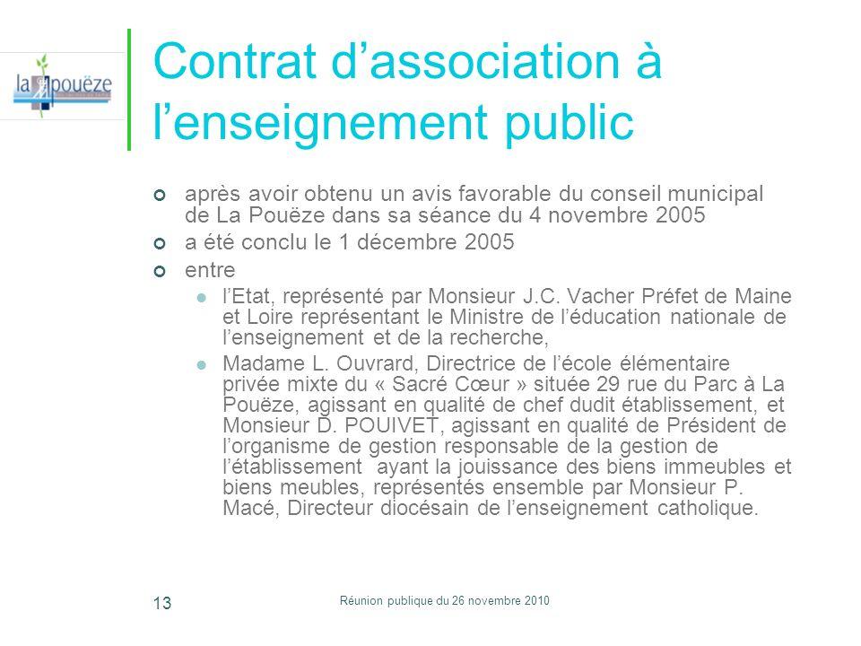 Réunion publique du 26 novembre 2010 13 Contrat dassociation à lenseignement public après avoir obtenu un avis favorable du conseil municipal de La Po