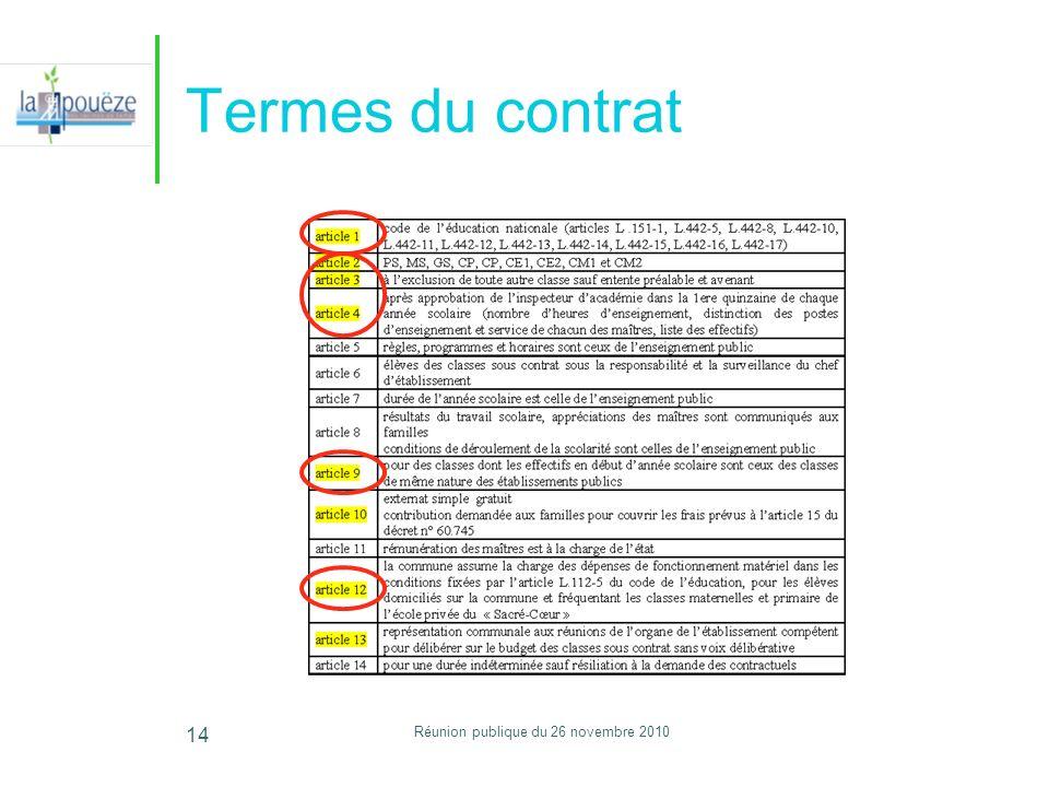 Réunion publique du 26 novembre 2010 14 Termes du contrat