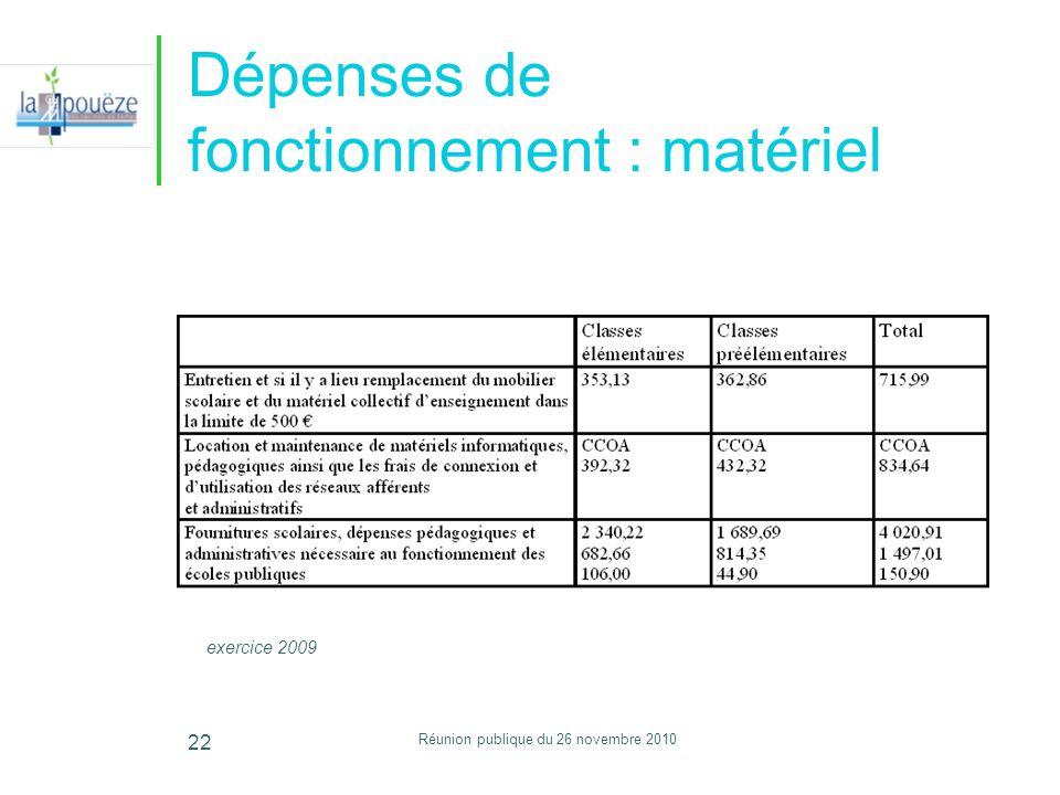 Réunion publique du 26 novembre 2010 22 Dépenses de fonctionnement : matériel exercice 2009