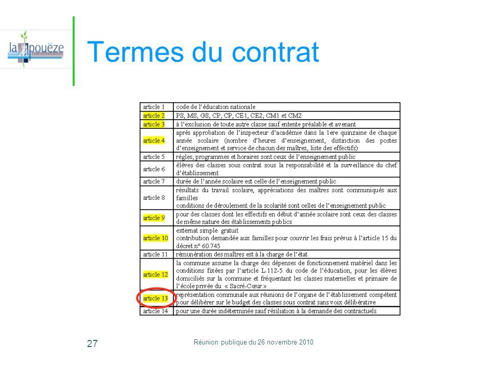 Réunion publique du 26 novembre 2010 27 Termes du contrat