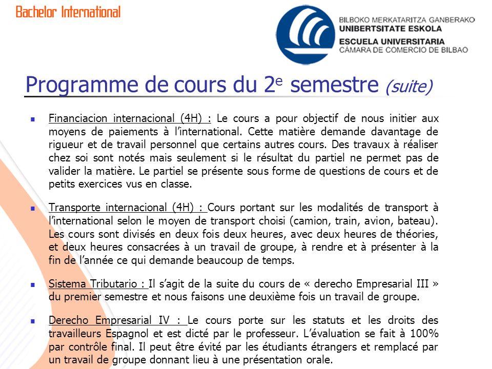 Programme de cours du 2 e semestre (suite) Financiacion internacional (4H) : Le cours a pour objectif de nous initier aux moyens de paiements à linternational.