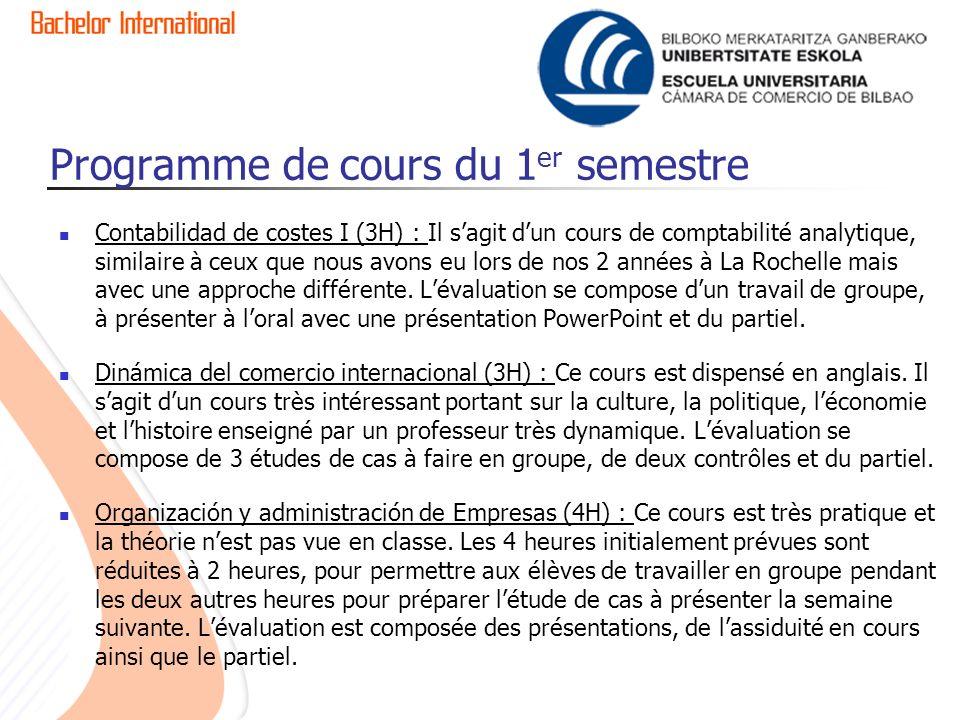 Programme de cours du 1 er semestre Contabilidad de costes I (3H) : Il sagit dun cours de comptabilité analytique, similaire à ceux que nous avons eu lors de nos 2 années à La Rochelle mais avec une approche différente.
