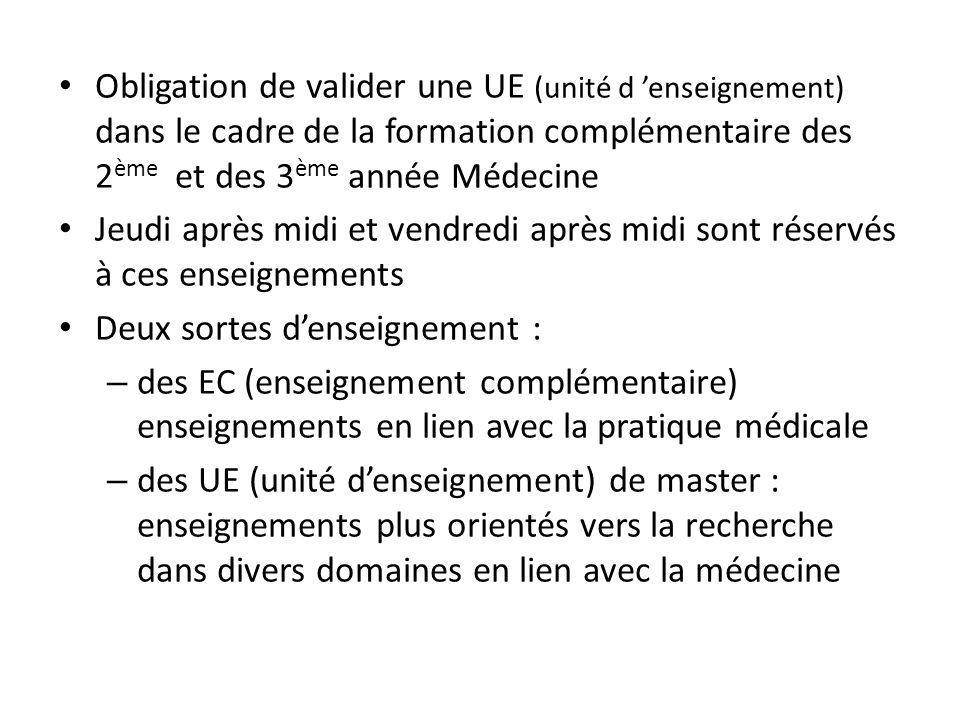 Obligation de valider une UE (unité d enseignement) dans le cadre de la formation complémentaire des 2 ème et des 3 ème année Médecine Jeudi après mid