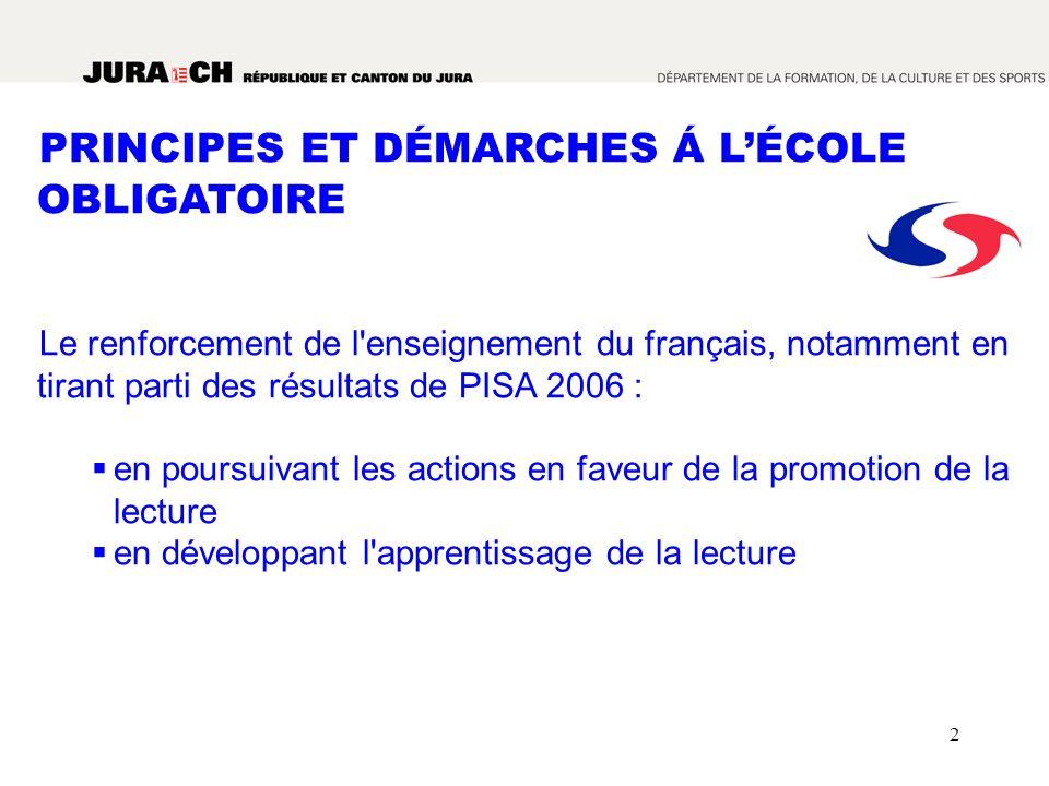 2 PRINCIPES ET DÉMARCHES Á LÉCOLE OBLIGATOIRE Le renforcement de l'enseignement du français, notamment en tirant parti des résultats de PISA 2006 : en