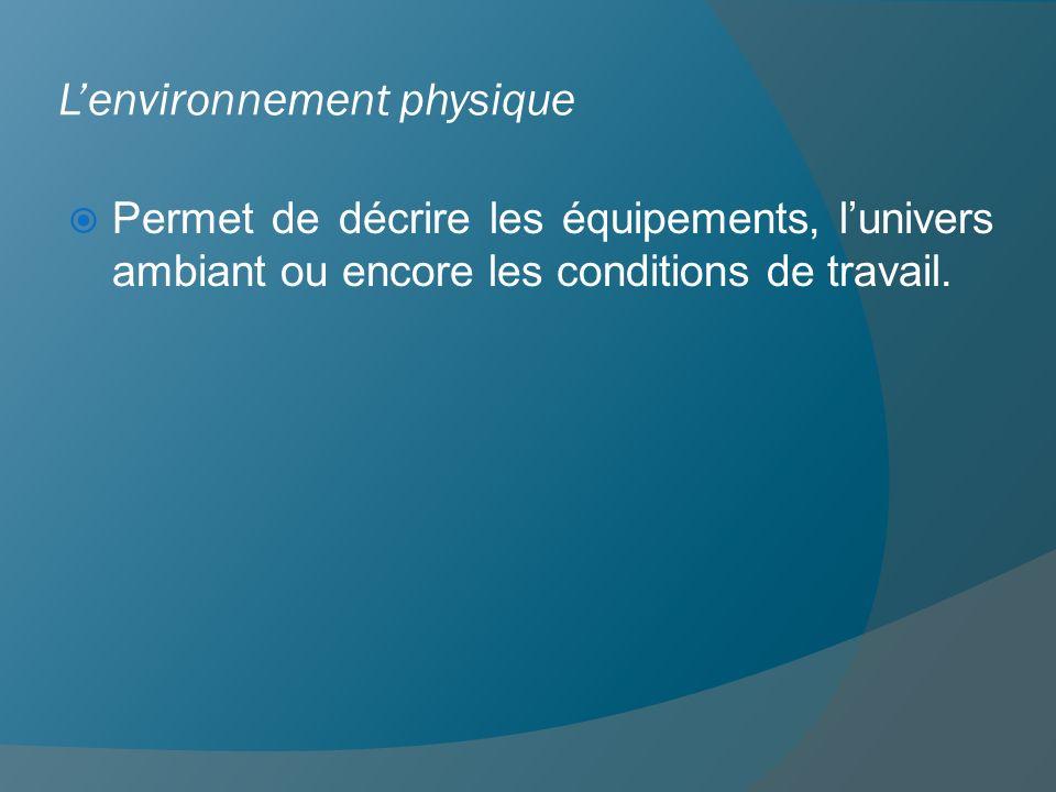 Lenvironnement physique Permet de décrire les équipements, lunivers ambiant ou encore les conditions de travail.