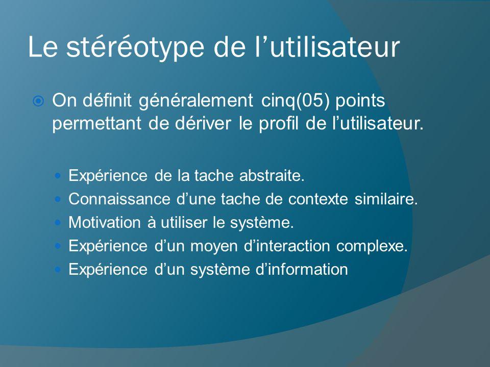 Le stéréotype de lutilisateur On définit généralement cinq(05) points permettant de dériver le profil de lutilisateur. Expérience de la tache abstrait