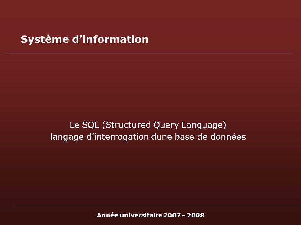 Année universitaire 2007 - 2008 Système dinformation Le SQL (Structured Query Language) langage dinterrogation dune base de données