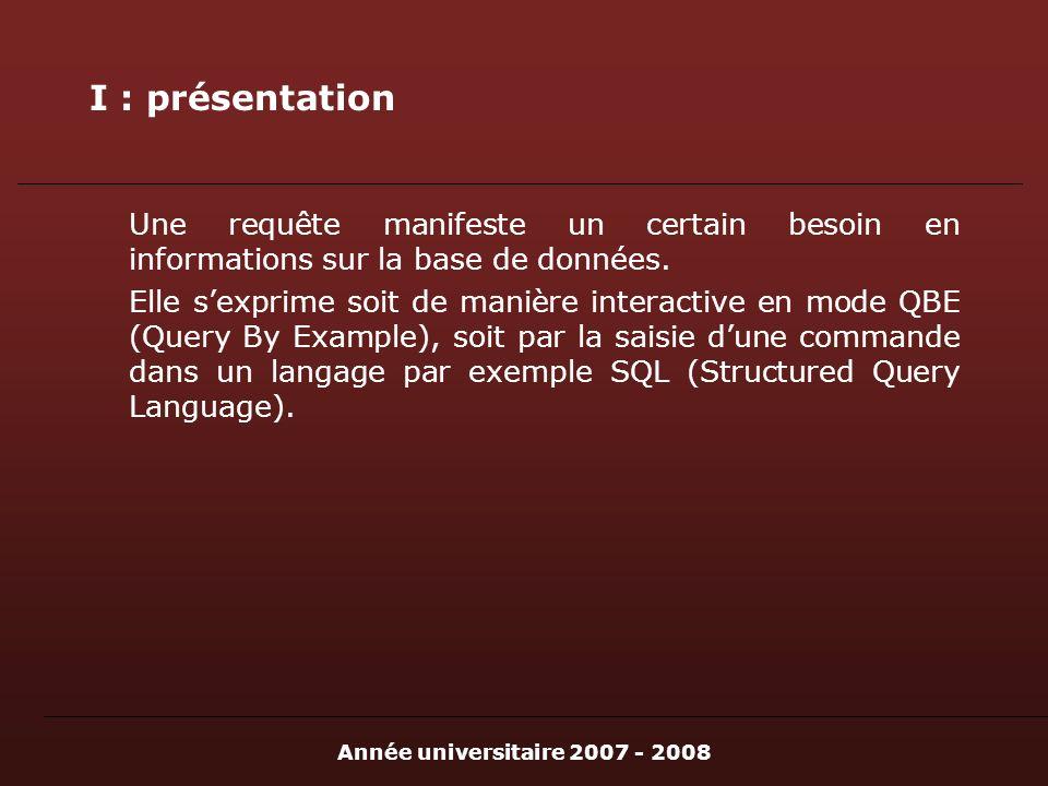 Année universitaire 2007 - 2008 I : présentation Une requête manifeste un certain besoin en informations sur la base de données. Elle sexprime soit de