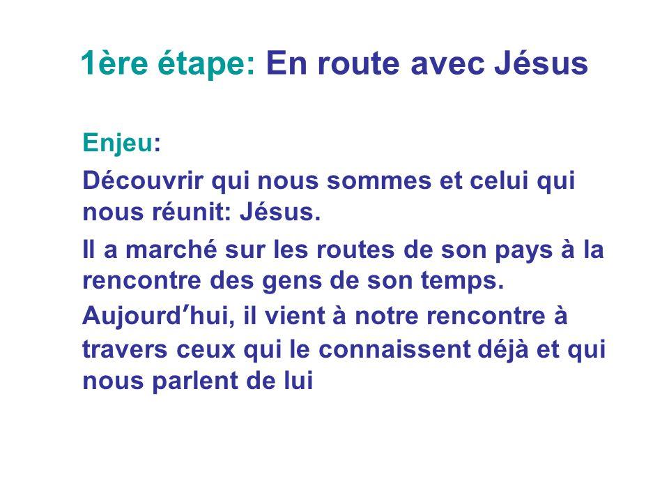 1ère étape: En route avec Jésus Enjeu: Découvrir qui nous sommes et celui qui nous réunit: Jésus. Il a marché sur les routes de son pays à la rencontr