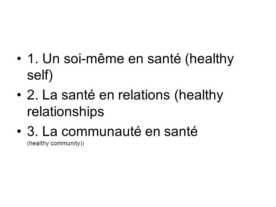 1. Un soi-même en santé (healthy self) 2. La santé en relations (healthy relationships 3.
