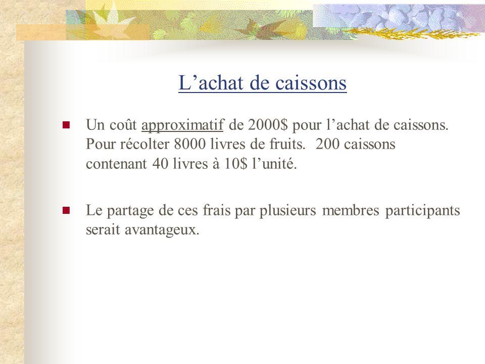 Lachat de caissons Un coût approximatif de 2000$ pour lachat de caissons. Pour récolter 8000 livres de fruits. 200 caissons contenant 40 livres à 10$