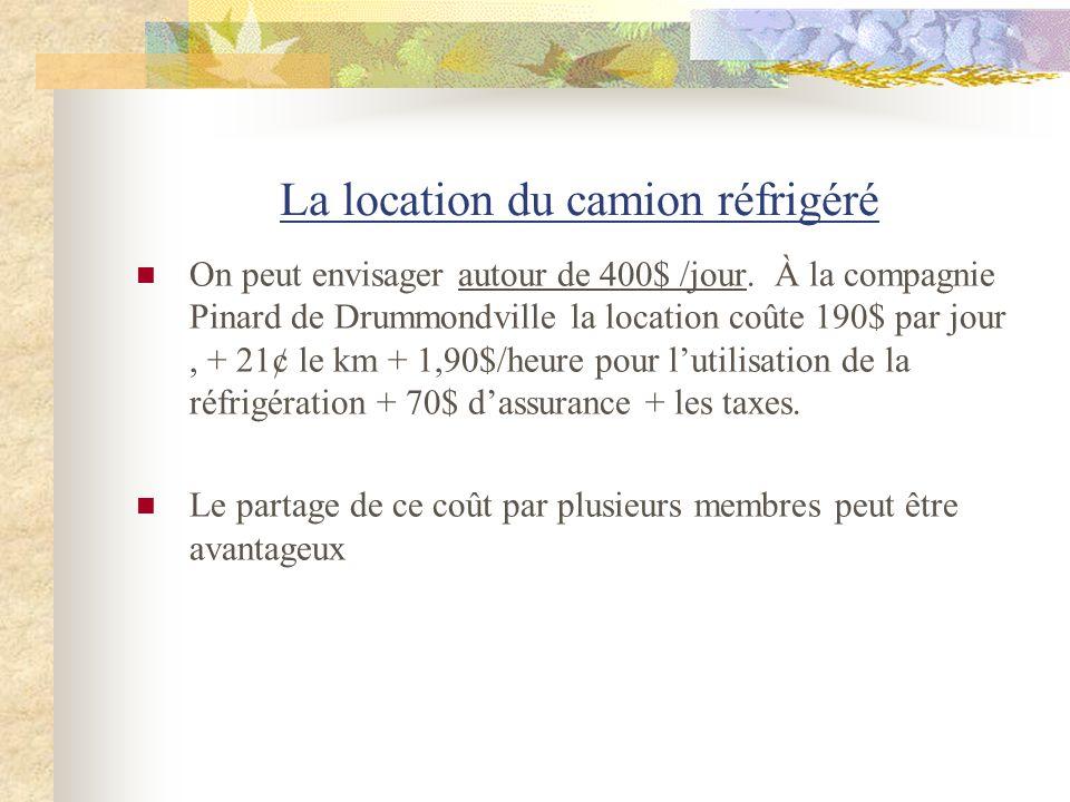 La location du camion réfrigéré On peut envisager autour de 400$ /jour. À la compagnie Pinard de Drummondville la location coûte 190$ par jour, + 21¢