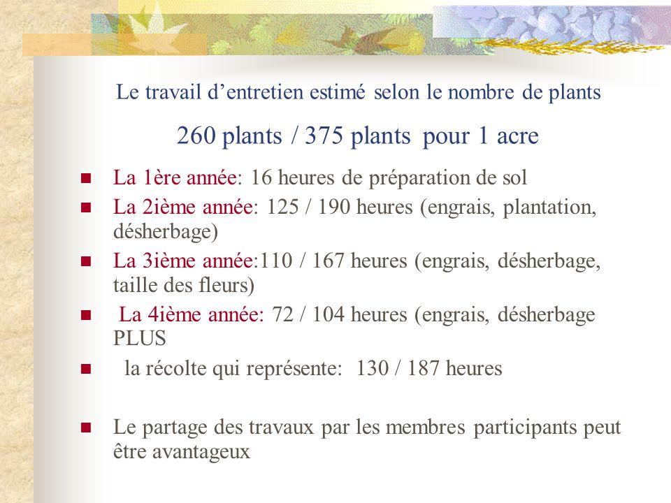 Le travail dentretien estimé selon le nombre de plants 260 plants / 375 plants pour 1 acre La 1ère année: 16 heures de préparation de sol La 2ième ann