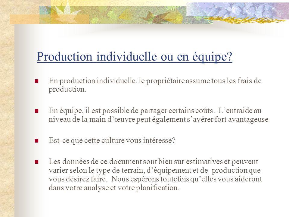 Production individuelle ou en équipe? En production individuelle, le propriétaire assume tous les frais de production. En équipe, il est possible de p