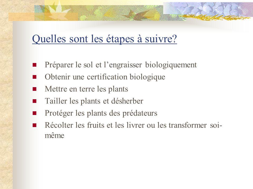 Quelles sont les étapes à suivre? Préparer le sol et lengraisser biologiquement Obtenir une certification biologique Mettre en terre les plants Taille