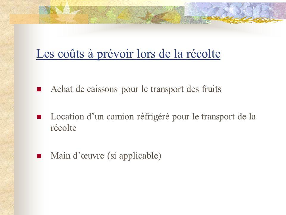 Les coûts à prévoir lors de la récolte Achat de caissons pour le transport des fruits Location dun camion réfrigéré pour le transport de la récolte Ma