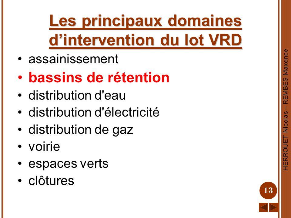 HERROUET Nicolas – REMBES Maxence 13 Les principaux domaines dintervention du lot VRD assainissement bassins de rétention distribution d'eau distribut
