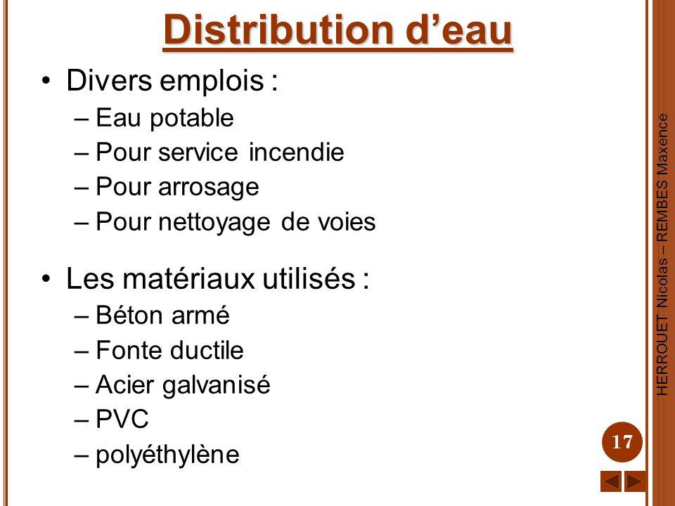 HERROUET Nicolas – REMBES Maxence 17 Distribution deau Divers emplois : –Eau potable –Pour service incendie –Pour arrosage –Pour nettoyage de voies Le