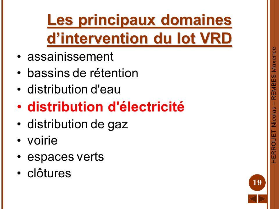 HERROUET Nicolas – REMBES Maxence 19 Les principaux domaines dintervention du lot VRD assainissement bassins de rétention distribution d'eau distribut