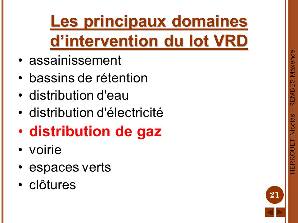 HERROUET Nicolas – REMBES Maxence 21 Les principaux domaines dintervention du lot VRD assainissement bassins de rétention distribution d'eau distribut