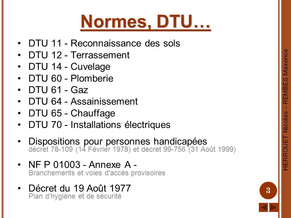HERROUET Nicolas – REMBES Maxence 3 Normes, DTU… DTU 11 - Reconnaissance des sols DTU 12 - Terrassement DTU 14 - Cuvelage DTU 60 - Plomberie DTU 61 -