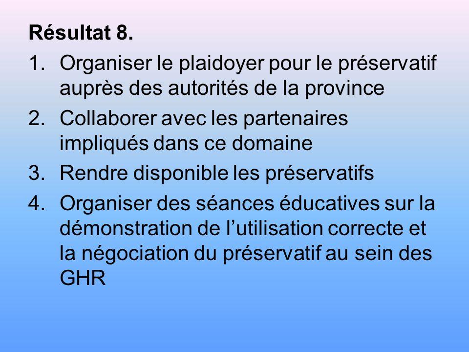 Résultat 7. 1.Identifier les groupes à haut risque (GHR) et leurs leaders 2.Former les RECO des OAC 3.Mobiliser et former les leaders de GHR 4.Produir