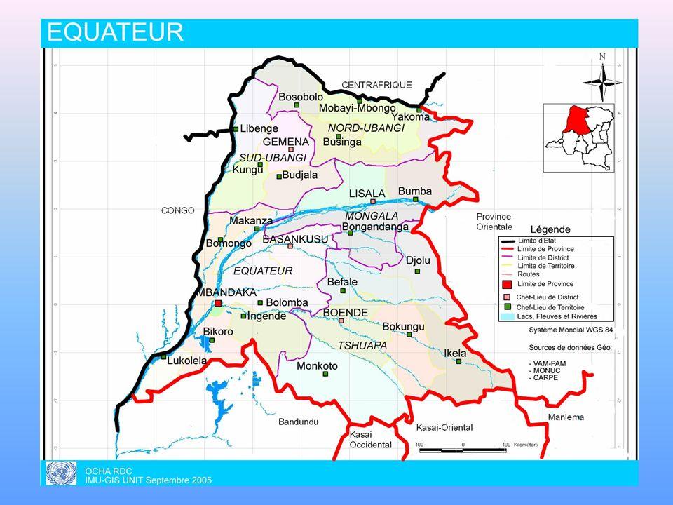 PRESENTATION DE LA PROVINCE -POPULATION TOTALE : 7.334.322 -DISTRICTS SANITAIRES : 7 -ZONES DE SANTE : 69 -AIRES DE SANTE : 1162 -RELIEF ET VEGETATION : FORET EQUATORIALE TRAVERSEE PAR PLUSIEURS COURS DEAU