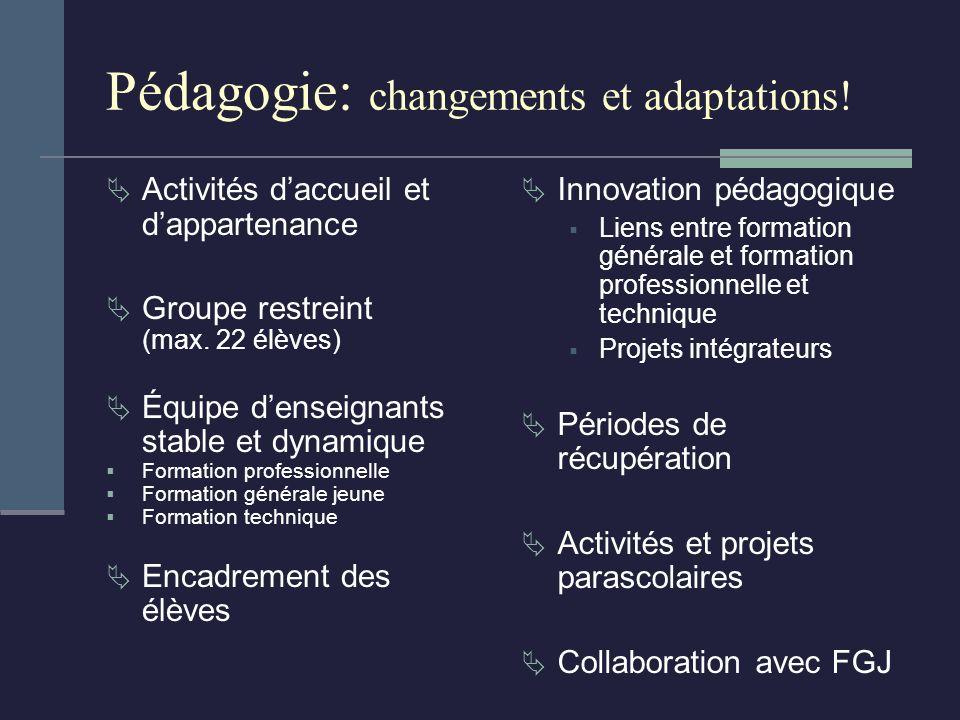Pédagogie: changements et adaptations. Activités daccueil et dappartenance Groupe restreint (max.