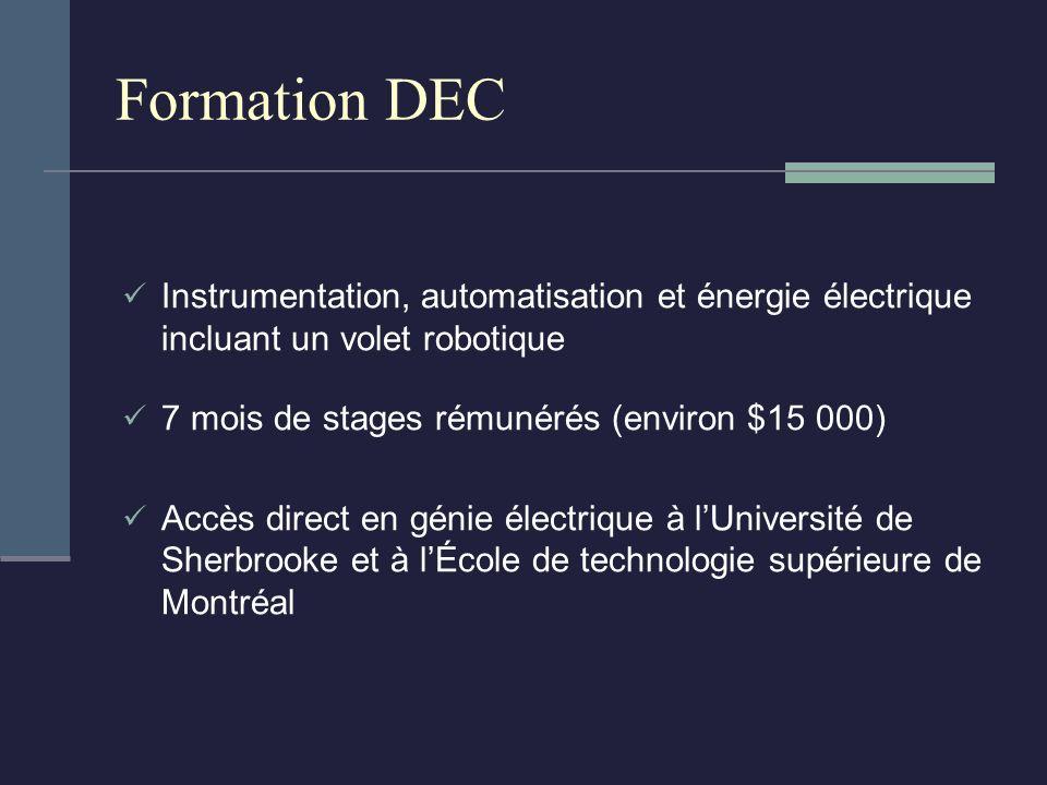 Formation DEC Instrumentation, automatisation et énergie électrique incluant un volet robotique 7 mois de stages rémunérés (environ $15 000) Accès direct en génie électrique à lUniversité de Sherbrooke et à lÉcole de technologie supérieure de Montréal