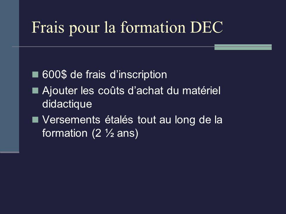 Frais pour la formation DEC 600$ de frais dinscription Ajouter les coûts dachat du matériel didactique Versements étalés tout au long de la formation (2 ½ ans)