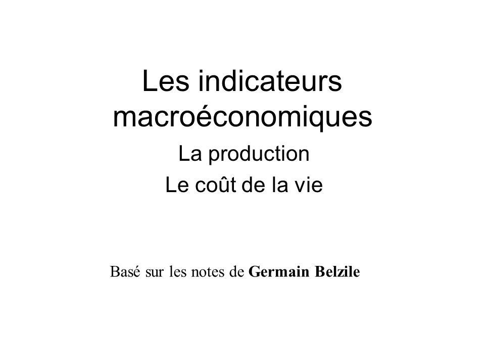 Les indicateurs macroéconomiques La production Le coût de la vie Basé sur les notes de Germain Belzile