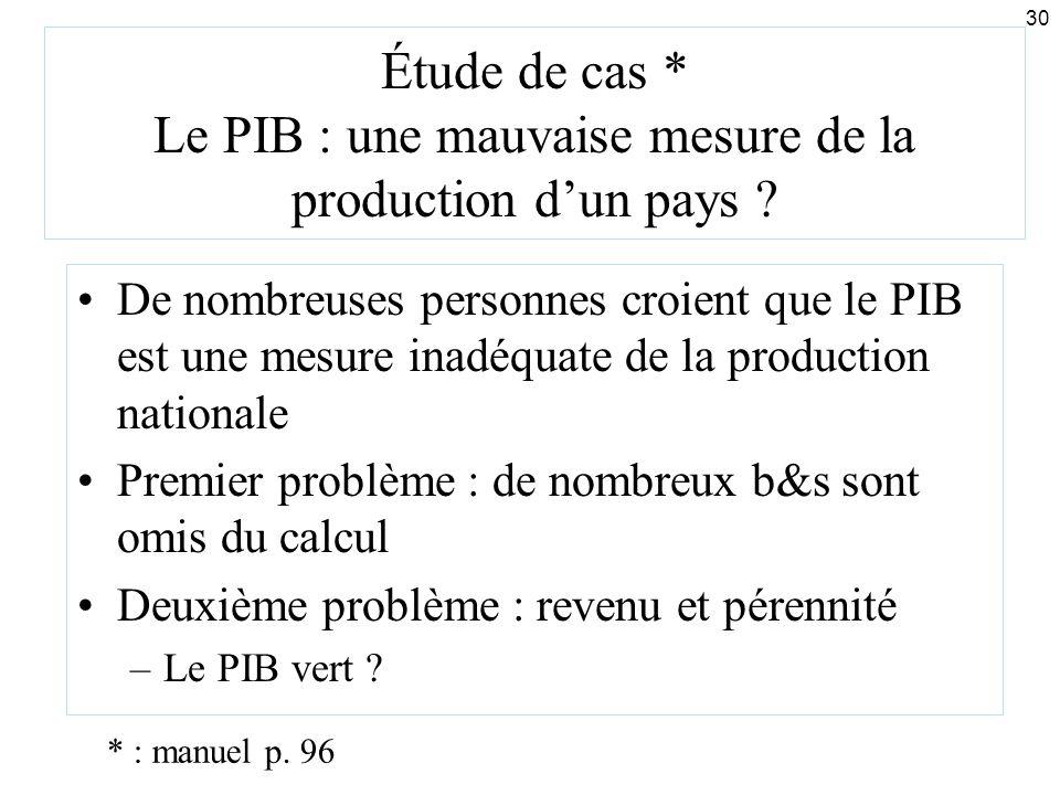 30 Étude de cas * Le PIB : une mauvaise mesure de la production dun pays ? De nombreuses personnes croient que le PIB est une mesure inadéquate de la