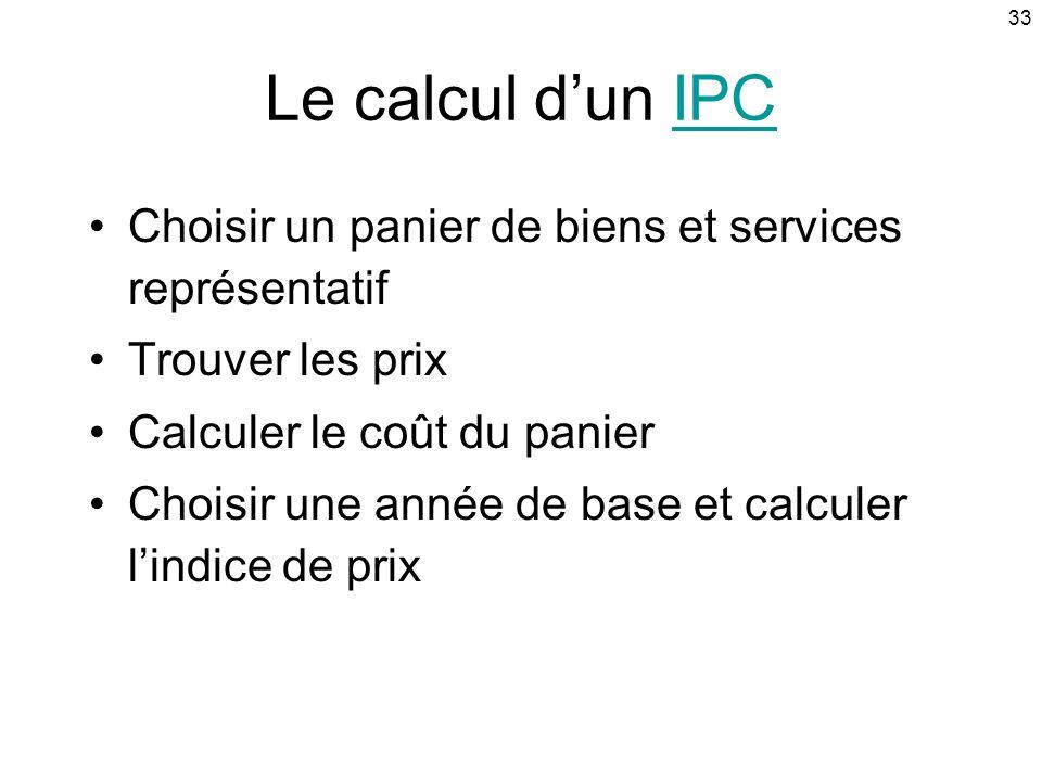 33 Le calcul dun IPCIPC Choisir un panier de biens et services représentatif Trouver les prix Calculer le coût du panier Choisir une année de base et