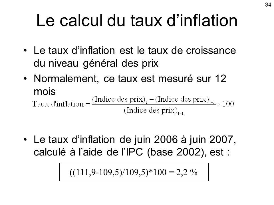 34 Le calcul du taux dinflation Le taux dinflation est le taux de croissance du niveau général des prix Normalement, ce taux est mesuré sur 12 mois Le