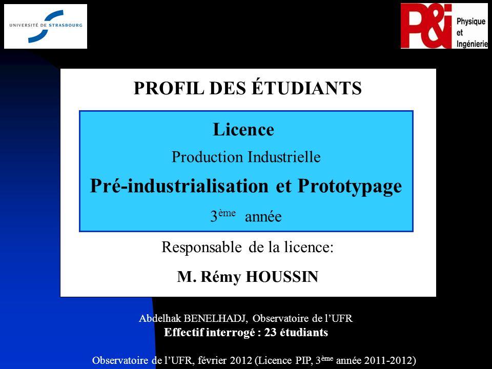 Observatoire de lUFR, février 2012 (Licence PIP, 3 ème année 2011-2012) 1 PROFIL DES ÉTUDIANTS Responsable de la licence: M.