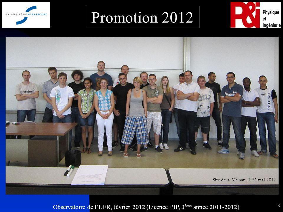 Observatoire de lUFR, février 2012 (Licence PIP, 3 ème année 2011-2012) 3 Promotion 2012 Site de la Meinau, J.