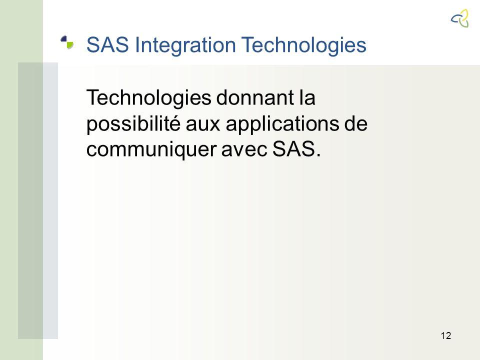 12 SAS Integration Technologies Technologies donnant la possibilité aux applications de communiquer avec SAS.