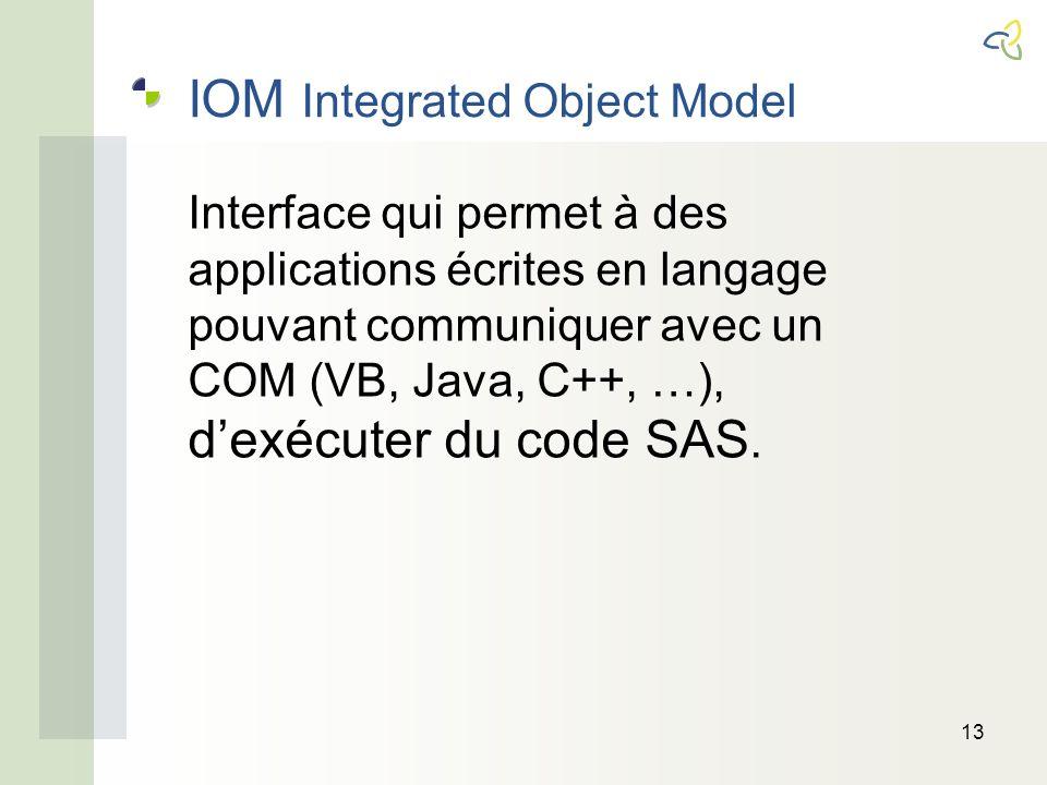 IOM Integrated Object Model 13 Interface qui permet à des applications écrites en langage pouvant communiquer avec un COM (VB, Java, C++, …), dexécuter du code SAS.