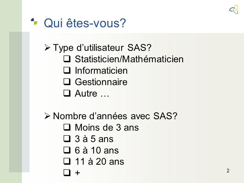 Qui êtes-vous. Type dutilisateur SAS.