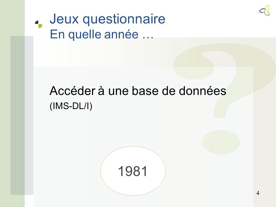 Jeux questionnaire En quelle année … 4 Accéder à une base de données (IMS-DL/I) 1981