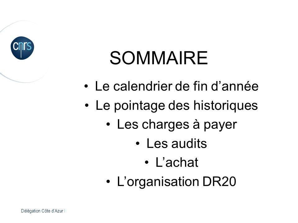 Délégation Côte dAzur l SOMMAIRE Le calendrier de fin dannée Le pointage des historiques Les charges à payer Les audits Lachat Lorganisation DR20