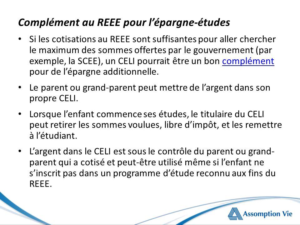 Complément au REEE pour lépargne-études Si les cotisations au REEE sont suffisantes pour aller chercher le maximum des sommes offertes par le gouvernement (par exemple, la SCEE), un CELI pourrait être un bon complément pour de lépargne additionnelle.