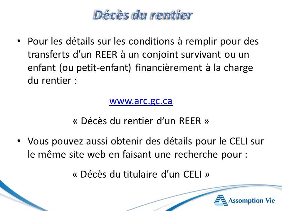 Pour les détails sur les conditions à remplir pour des transferts dun REER à un conjoint survivant ou un enfant (ou petit-enfant) financièrement à la charge du rentier : www.arc.gc.ca « Décès du rentier dun REER » Vous pouvez aussi obtenir des détails pour le CELI sur le même site web en faisant une recherche pour : « Décès du titulaire dun CELI »