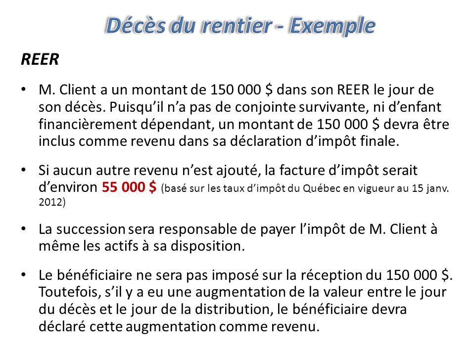 REER M. Client a un montant de 150 000 $ dans son REER le jour de son décès.