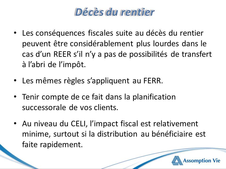 Les conséquences fiscales suite au décès du rentier peuvent être considérablement plus lourdes dans le cas dun REER sil ny a pas de possibilités de transfert à labri de limpôt.