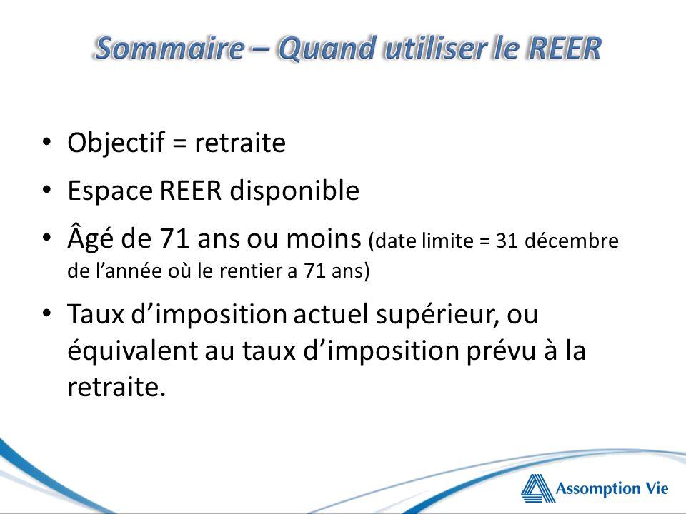 Objectif = retraite Espace REER disponible Âgé de 71 ans ou moins (date limite = 31 décembre de lannée où le rentier a 71 ans) Taux dimposition actuel supérieur, ou équivalent au taux dimposition prévu à la retraite.