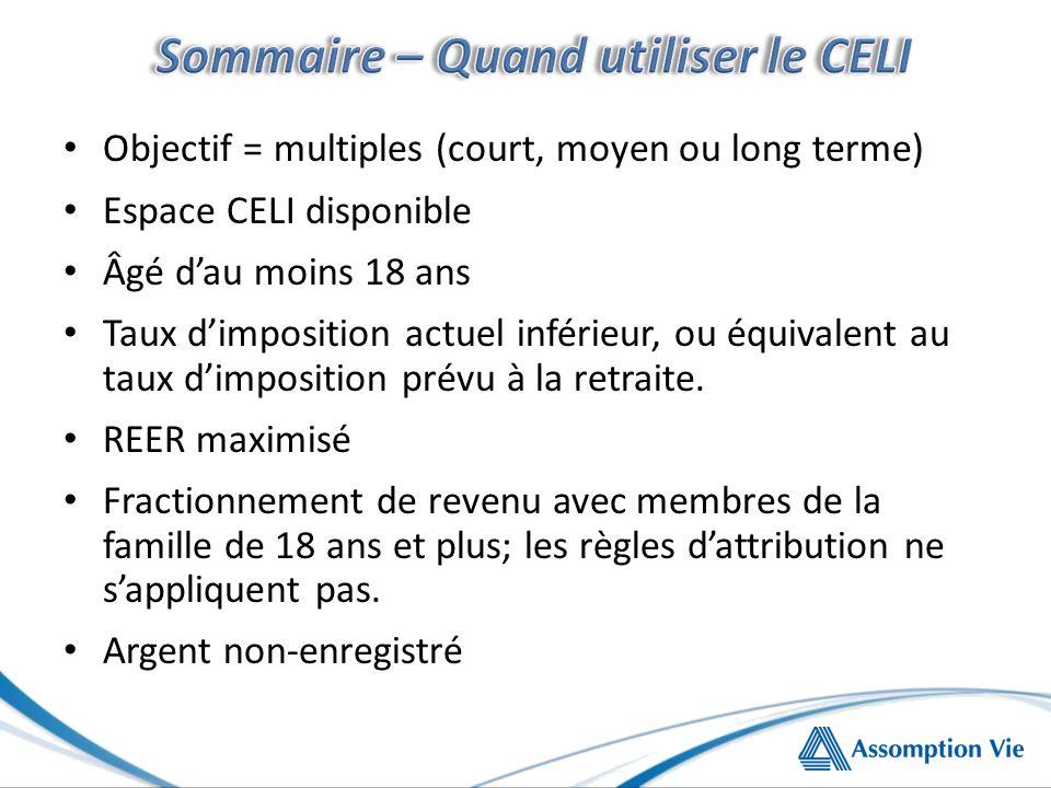 Objectif = multiples (court, moyen ou long terme) Espace CELI disponible Âgé dau moins 18 ans Taux dimposition actuel inférieur, ou équivalent au taux dimposition prévu à la retraite.