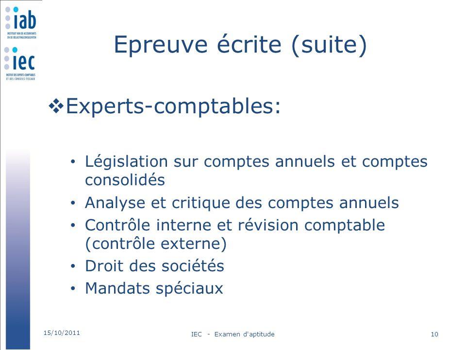 Epreuve écrite (suite) Experts-comptables: Législation sur comptes annuels et comptes consolidés Analyse et critique des comptes annuels Contrôle inte