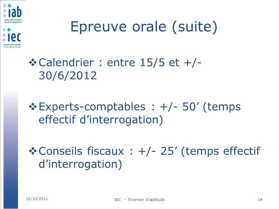 Epreuve orale (suite) Calendrier : entre 15/5 et +/- 30/6/2012 Experts-comptables : +/- 50 (temps effectif dinterrogation) Conseils fiscaux : +/- 25 (