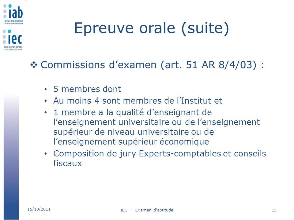 Epreuve orale (suite) Commissions dexamen (art. 51 AR 8/4/03) : 5 membres dont Au moins 4 sont membres de lInstitut et 1 membre a la qualité denseigna